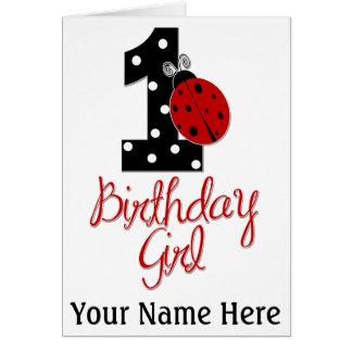 1st Birthday Girl - Lady Bug - 1 - Ladybug Greeting Card