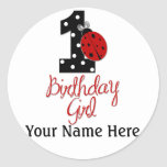 1st Birthday Girl - Lady Bug - 1 - Ladybug Round Sticker