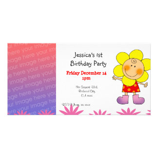 1st birthday girl party invitations (flower girl) photo greeting card