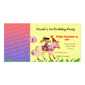 1st birthday girl party invitations (pink pony) personalised photo card