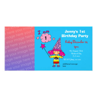 1st birthday girl party invitations wizard photo card template