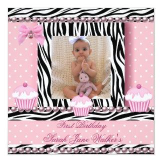 1st Birthday Girl Pink Cupcakes Zebra Baby 13 Cm X 13 Cm Square Invitation Card