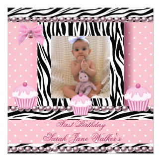 1st Birthday Girl Pink Cupcakes Zebra Baby Custom Announcements