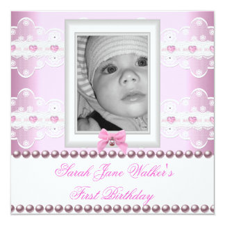 1st Birthday Girl Pink White Lace Photo First 13 Cm X 13 Cm Square Invitation Card