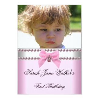 1st Birthday Girl Pink White Pearl Photo First Card