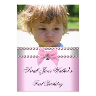 1st Birthday Girl Pink White Pearl Photo First Custom Invitations