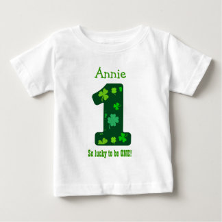 1st Birthday Girl Shamrock Number Custom Name V12 Baby T-Shirt