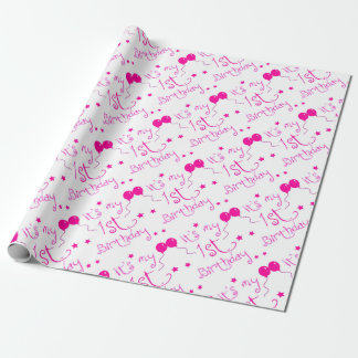 1st birthday girl theme wrapping paper