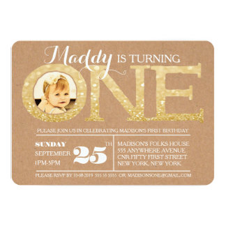 1st Birthday Gold Glitter One Photo Invitation