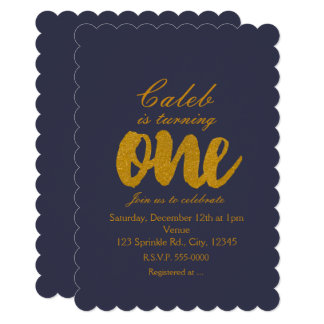 1st Birthday gold ONE Any Color Party Invitations
