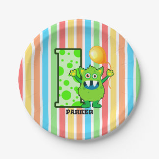 1st Birthday Green Monster Custom Paper Plate