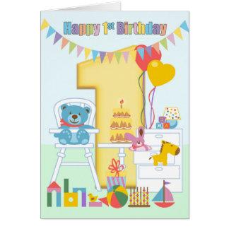 1st Birthday Greeting Card, Happy First Birthday Card