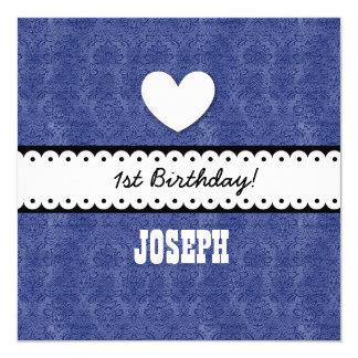 "1st Birthday Heart Scalloped Ribbon Royal Blue G5Z 5.25"" Square Invitation Card"