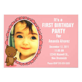 1st Birthday Invitation - Teddy Bear Pink