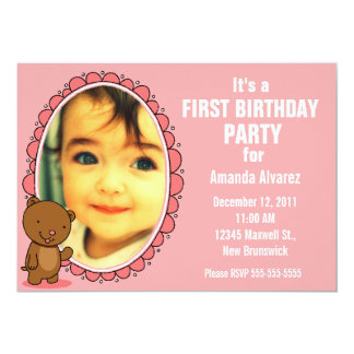 1st Birthday Invitation - Teddy Bear Pink