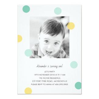 1st birthday invitation with confetti dots
