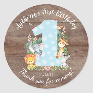 1st Birthday Jungle Animals Favor Sticker