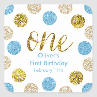 1st Birthday-Light Blue and Gold Glitter Square Sticker