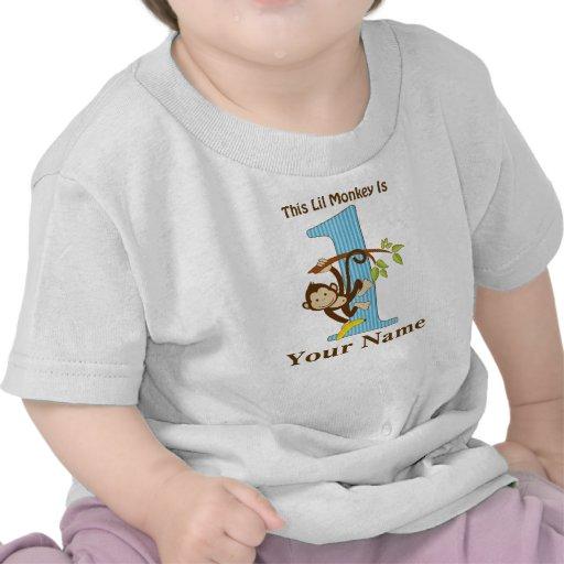 1st Birthday Lil Monkey Blue Personalize It Tee Shirts