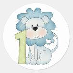 1st Birthday Lion Classic Round Sticker