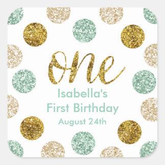1st Birthday-Mint and Gold Glitter Square Sticker