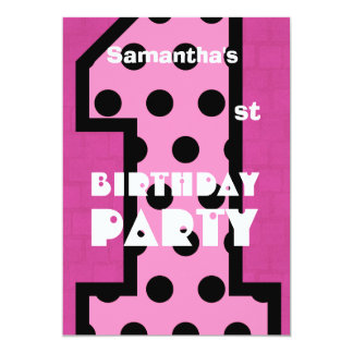 1st Birthday Modern Baby Girl Pink Polka Dots V06 Invites