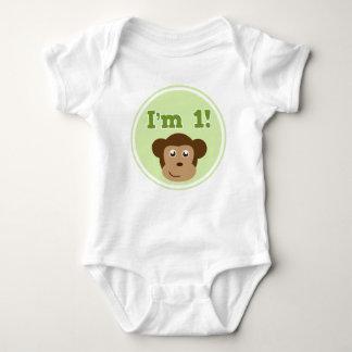 1st Birthday Monkey Baby Bodysuit