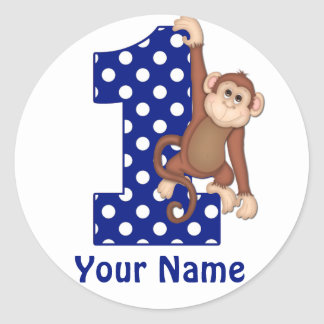 1st Birthday Monkey Blue Sicker Classic Round Sticker