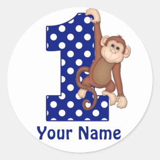1st Birthday Monkey Blue Sicker Round Sticker