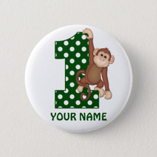 1st Birthday Monkey Green Personalized Button