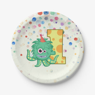 1st Birthday Monster Paper Plate