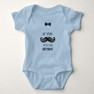 1st Birthday - Moustache - Little Man - Baby Boy Baby Bodysuit