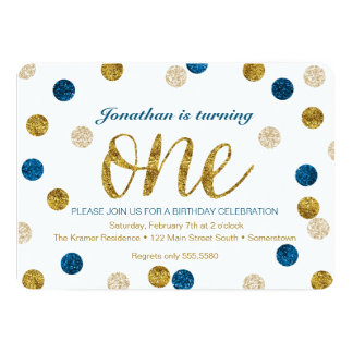 1st Birthday-Navy and Gold Glitter 13 Cm X 18 Cm Invitation Card