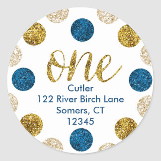 1st Birthday-Navy and Gold Glitter Address Classic Round Sticker