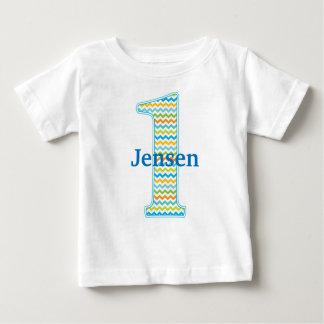 1st Birthday Number One in chevron T shirt