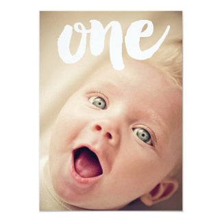 1st Birthday Number One Photo Overlay Invitation