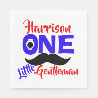 1st Birthday One Little Gentleman Personalized Disposable Napkin