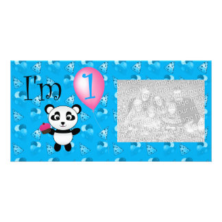 1st Birthday panda blue birthday pattern Personalized Photo Card