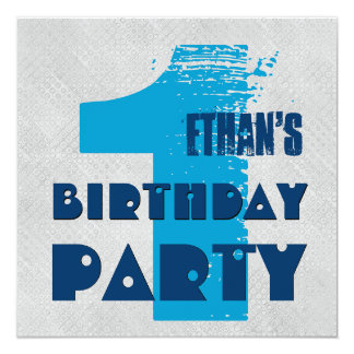 1st Birthday Party 1 Year Old Grunge Design 13 Cm X 13 Cm Square Invitation Card