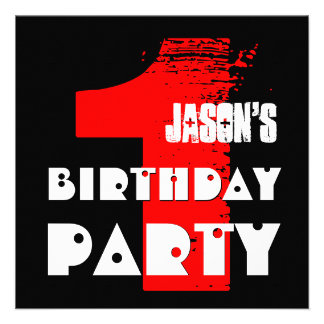 1st Birthday Party 1 Year Old Grunge Design Personalized Announcements