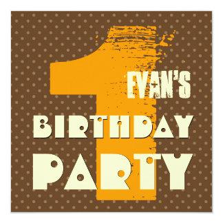 1st Birthday Party 1 Year Old Polka Dot Design 13 Cm X 13 Cm Square Invitation Card