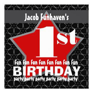 1st Birthday Party Black Red White STAR V01 Invites