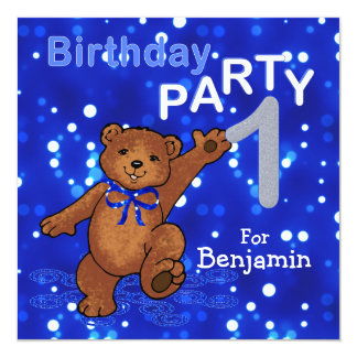 1st Birthday Party Dancing Teddy Bear 5.25x5.25 Square Paper Invitation Card