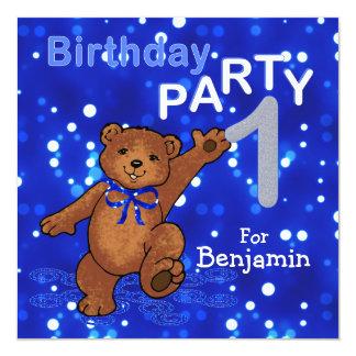 1st Birthday Party Dancing Teddy Bear 13 Cm X 13 Cm Square Invitation Card