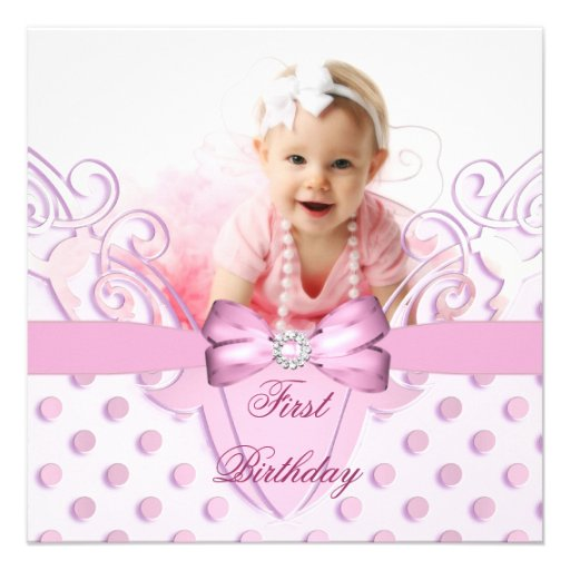 1st Birthday Party Girl Pink White Bow Image Personalized Invite