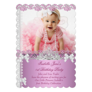 1st Birthday Party Girl Princess Pink Photo First Cards