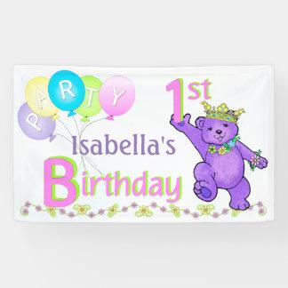 1st Birthday Party Happy Princess Bear Banner