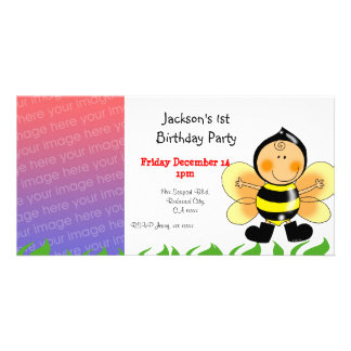 1st birthday party invitations bee costume personalized photo card