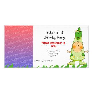 1st birthday party invitations ( dragon costume ) custom photo card