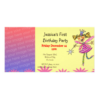 1st birthday party invitations (princess fairy) picture card